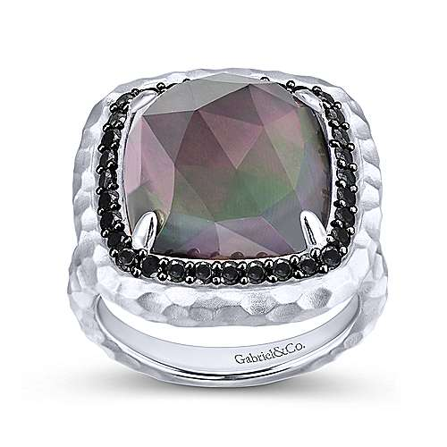 925 Sterling Silver Cushion Cut Rock Crystal/Black MOP Ring with Black Spinel Halo