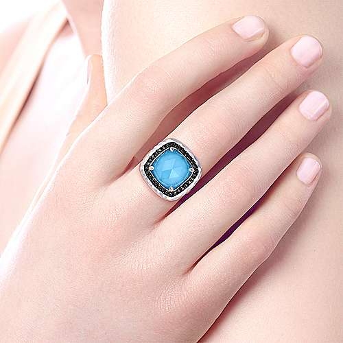 925 Sterling Silver Cushion Cut Rock Crystal/Turquoise Ring with Black Spinel Halo