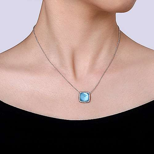925 Sterling Silver Cushion Cut Rock Crystal and White Mother of Pearl and Turquoise Necklace