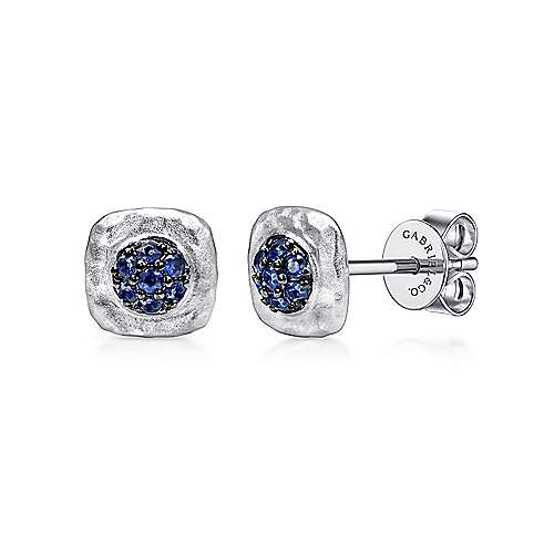 01805a07f 925 Sterling Silver Cushion Cut Sapphire Cluster Stud Earrings ...