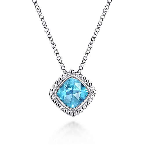 925 Sterling Silver Cushion Cut Swiss Blue Topaz Fashion Necklace