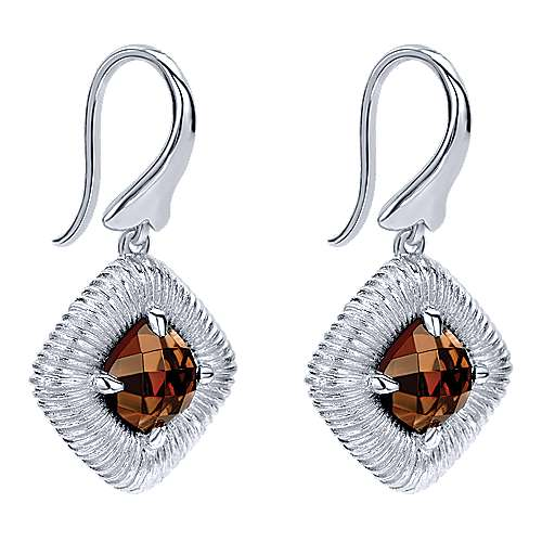 925 Sterling Silver Cushion Smoky Quartz Drop Earrings