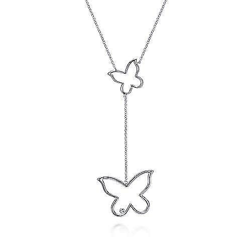 925 Sterling Silver Diamond Butterfly Drop Necklace