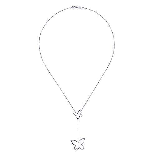 925 Sterling Silver Diamond Butterfly Drop Necklace