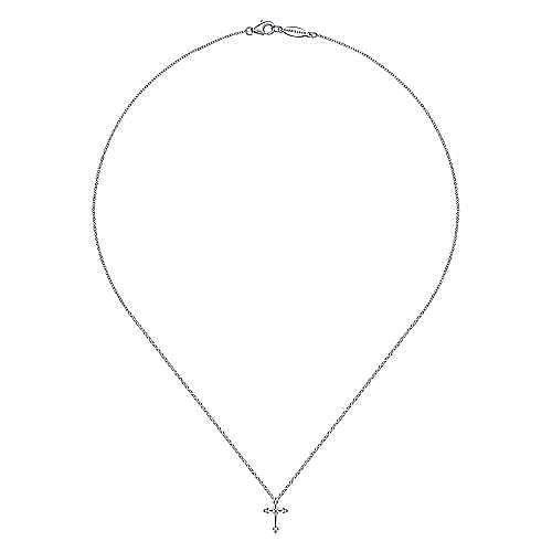 925 Sterling Silver Diamond Cross Pendant Necklace