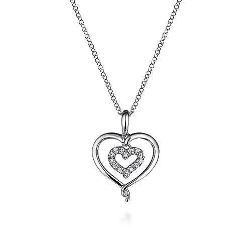 Gabriel - 925 Sterling Silver Diamond Double Heart Necklace
