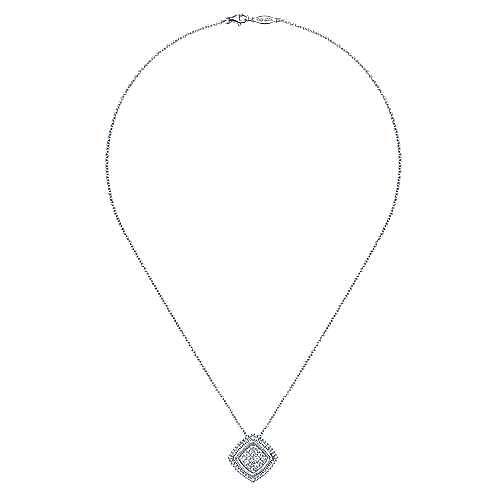 925 Sterling Silver Diamond Pavé Pendant Necklace