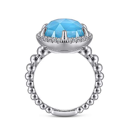 925 Sterling Silver Diamond and Rock Crystal and Turquoise Ladies Ring