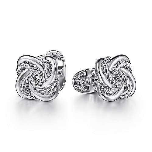 925 Sterling Silver Double Love Knot Cufflinks