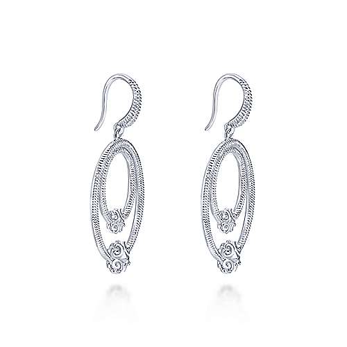 925 Sterling Silver Double Oval Earrings with Filigree Accents