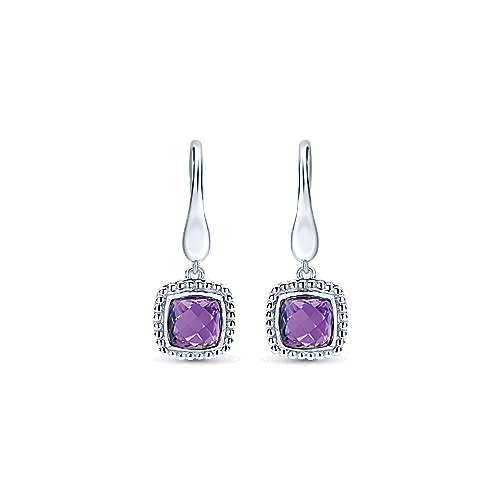 925 Sterling Silver Earrings with Cushion Cut Amethyst Drops