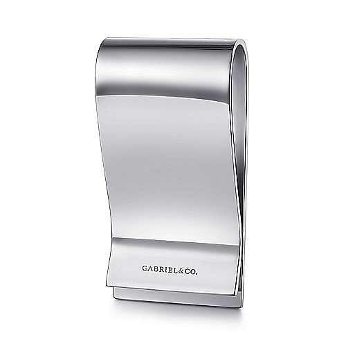 925 Sterling Silver Engravable Money Clip with Titanium Squares