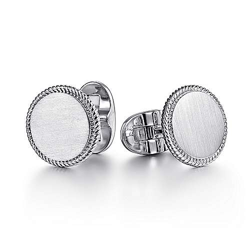 925 Sterling Silver Engravable Round Cufflinks with Twisted Rope Trim