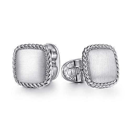 925 Sterling Silver Engravable Square Cufflinks with Twisted Rope Trim
