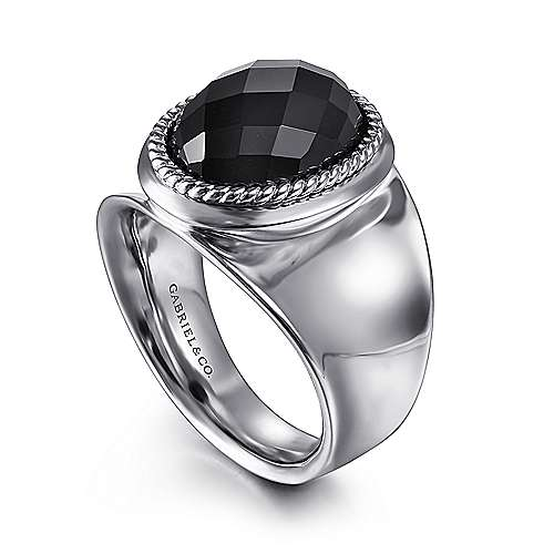 925 Sterling Silver Faceted Oval Black Onyx Wide Band Ring