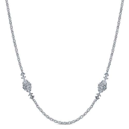 925 Sterling Silver Filigree Bead Station Necklace