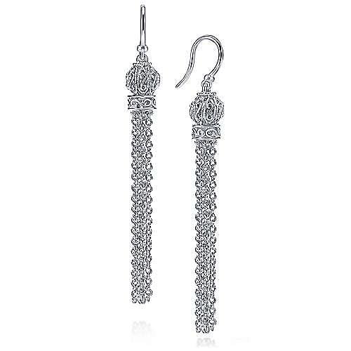 925 Sterling Silver Filigree Orbs with Chain Tassel Earrings