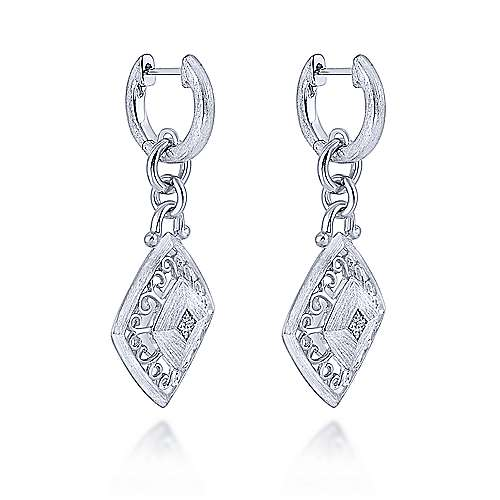 925 Sterling Silver Filigree Rhombus Huggies with Diamond Accents