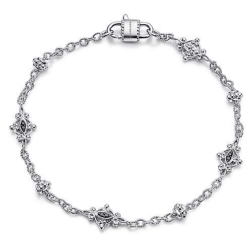925 Sterling Silver Filigree Station Bracelet with Black Spinel