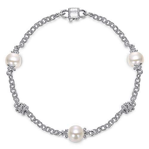 925 Sterling Silver Filigree and Pearl Station Bracelet