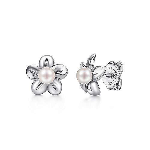 925 Sterling Silver Floral Dainty Cultured Pearl Stud Earrings