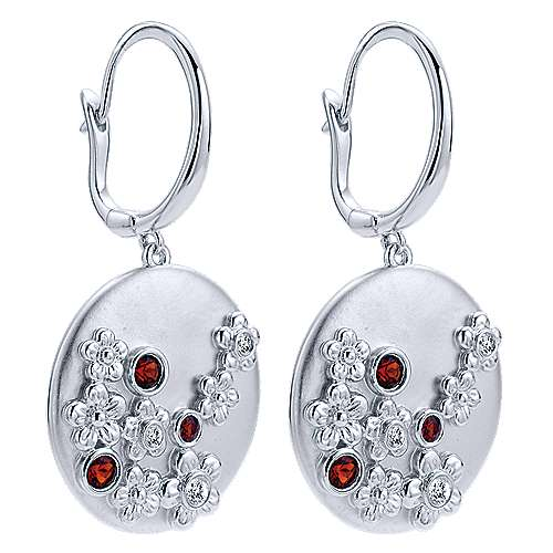 925 Sterling Silver Floral Garnet and White Sapphire Drop Earrings