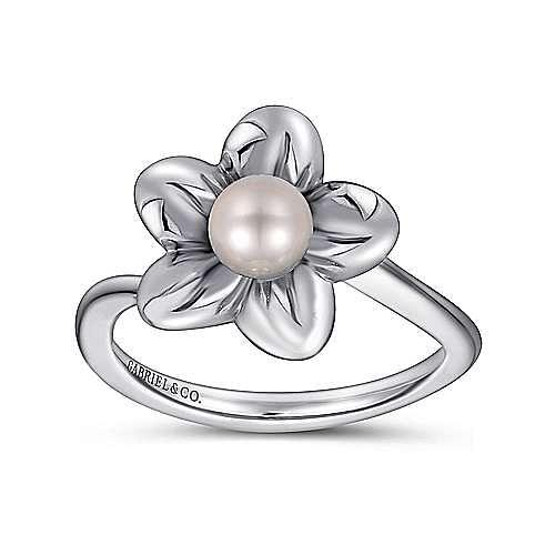 925 Sterling Silver Floral Pearl Ladies Ring