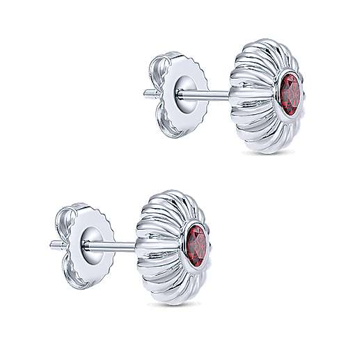 925 Sterling Silver Floral Round Garnet Stud Earrings