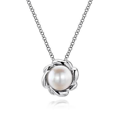 Gabriel - 925 Sterling Silver Flower Halo Cultured Pearl Fashion Necklace