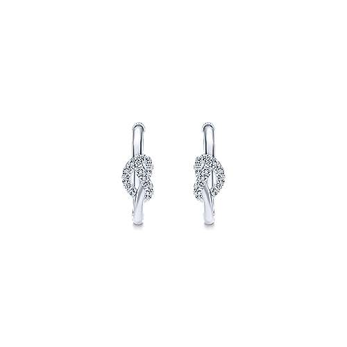 925 Sterling Silver French Pave 20mm Knotted White Sapphire Hoop Earrings