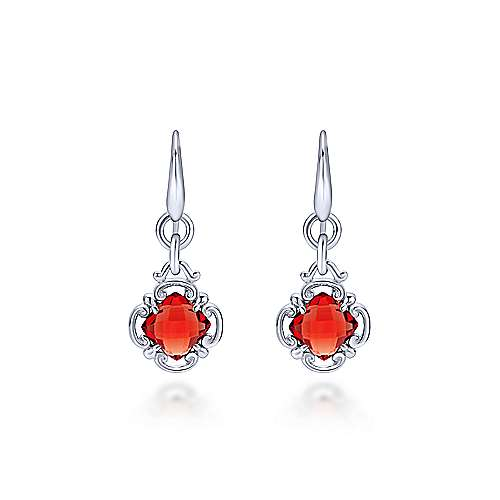 925 Sterling Silver Garnet Clover Drop Earrings