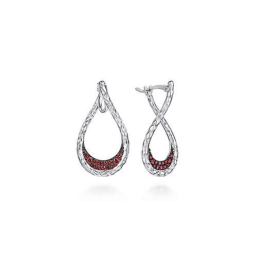 925 Sterling Silver Garnet Lined Pear Shaped Drop Earrings