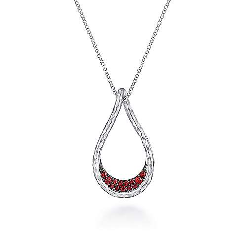 925 Sterling Silver Garnet Lined Pear Shaped Pendant Necklace