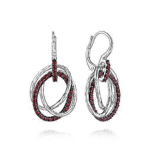 Gabriel - 925 Sterling Silver Garnet Triple Circle Drop Earrings