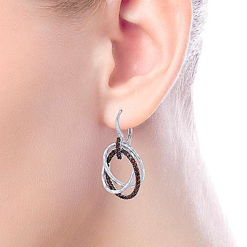 925 Sterling Silver Garnet Triple Circle Drop Earrings