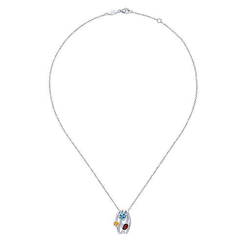 925 Sterling Silver Garnet and Citrine and Blue Topaz Scalloped Pendant Necklace