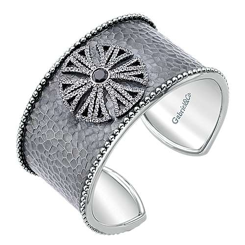 925 Sterling Silver Garnet and White Sapphire Wide Cuff Bracelet