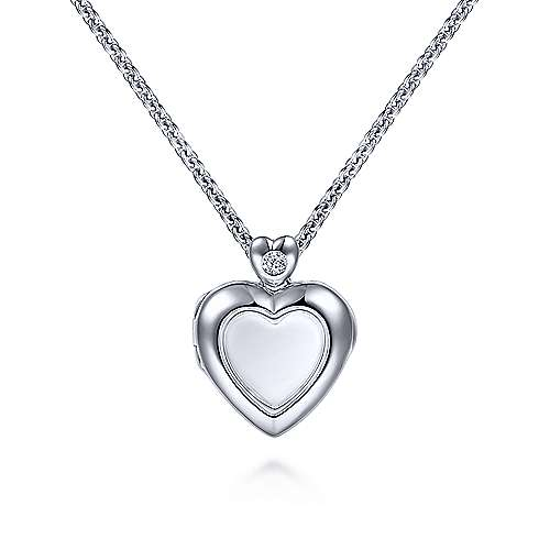 925 Sterling Silver Glass Inlay Heart Locket with Diamond Accent