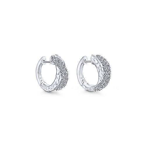 925 Sterling Silver Hammered 10mm White Sapphire Huggie Earrings
