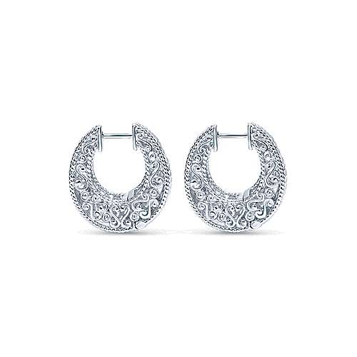 925 Sterling Silver Hammered 20mm Intricate Hoop Earrings