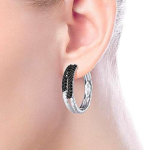 925 Sterling Silver Hammered 25mm Black Spinel Hoop Earrings