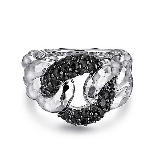 Gabriel - 925 Sterling Silver Hammered Black Spinel Chain Link Fashion Ring