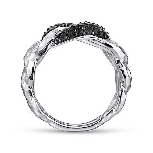 925 Sterling Silver Hammered Black Spinel Chain Link Ring