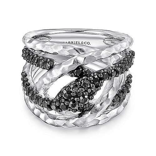 Gabriel - 925 Sterling Silver Hammered Black Spinel Ladies Ring