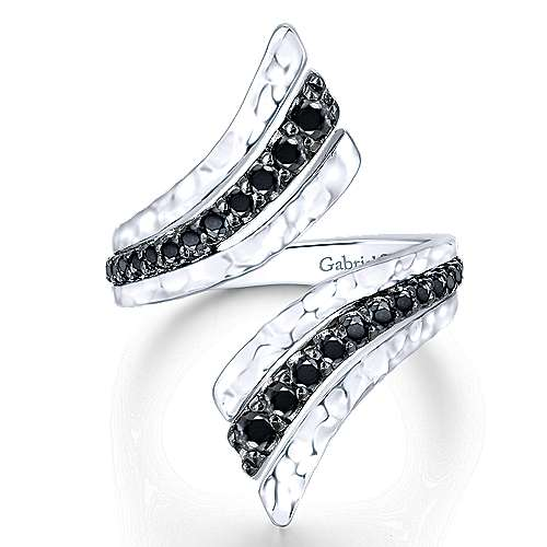 Gabriel - 925 Sterling Silver Hammered Black Spinel Open Wrap Ladies Ring