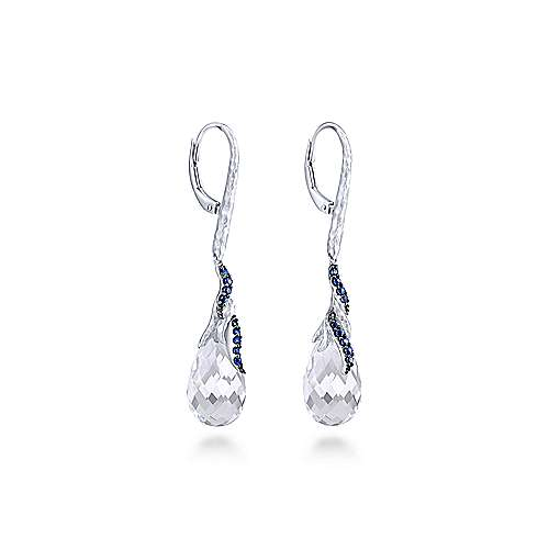 925 Sterling Silver Hammered Curving Strands Sapphire and Rock Crystal Teardrop Drop Earrings