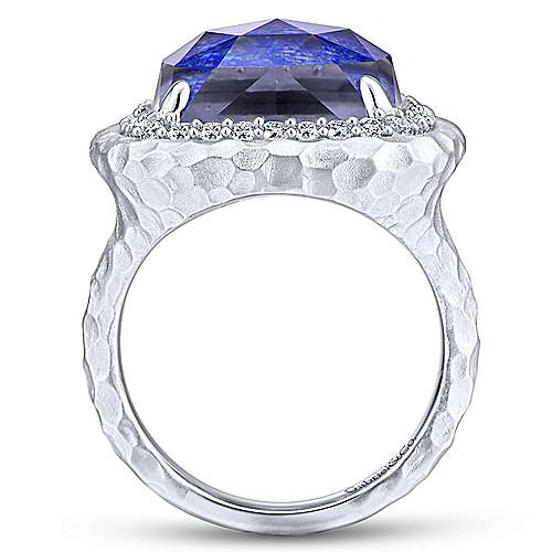 925 Sterling Silver Hammered Cushion Cut Rock Crystal / Lapis and White Sapphire Halo Ladies Ring