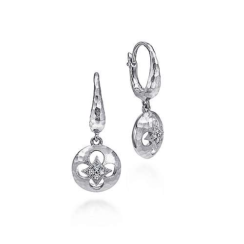 925 Sterling Silver Hammered Disc Earrings with Diamond Accent