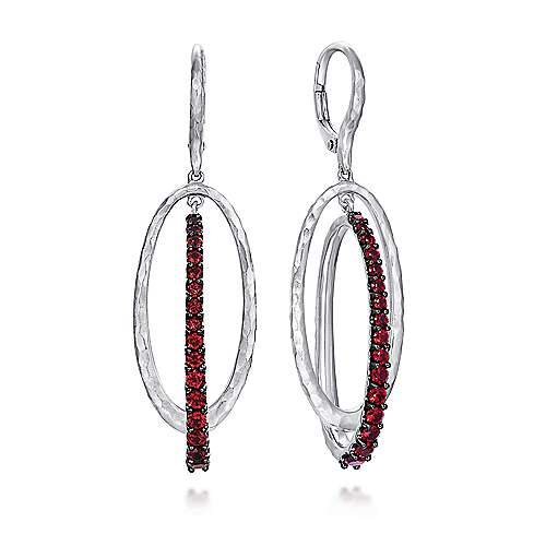 925 Sterling Silver Hammered Double Oval Garnet Drop Earrings