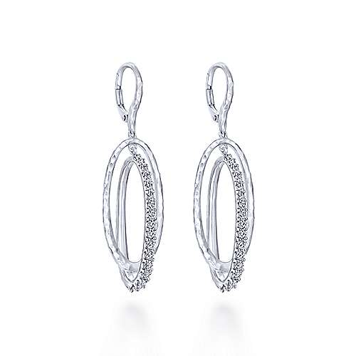 925 Sterling Silver Hammered Double Oval White Sapphire Drop Earrings